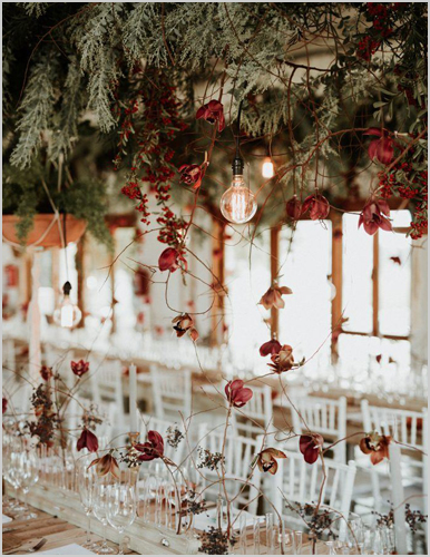 I Do And Company Post Image Friday Favorites Fall Wedding Trends hanging florals from ceiling