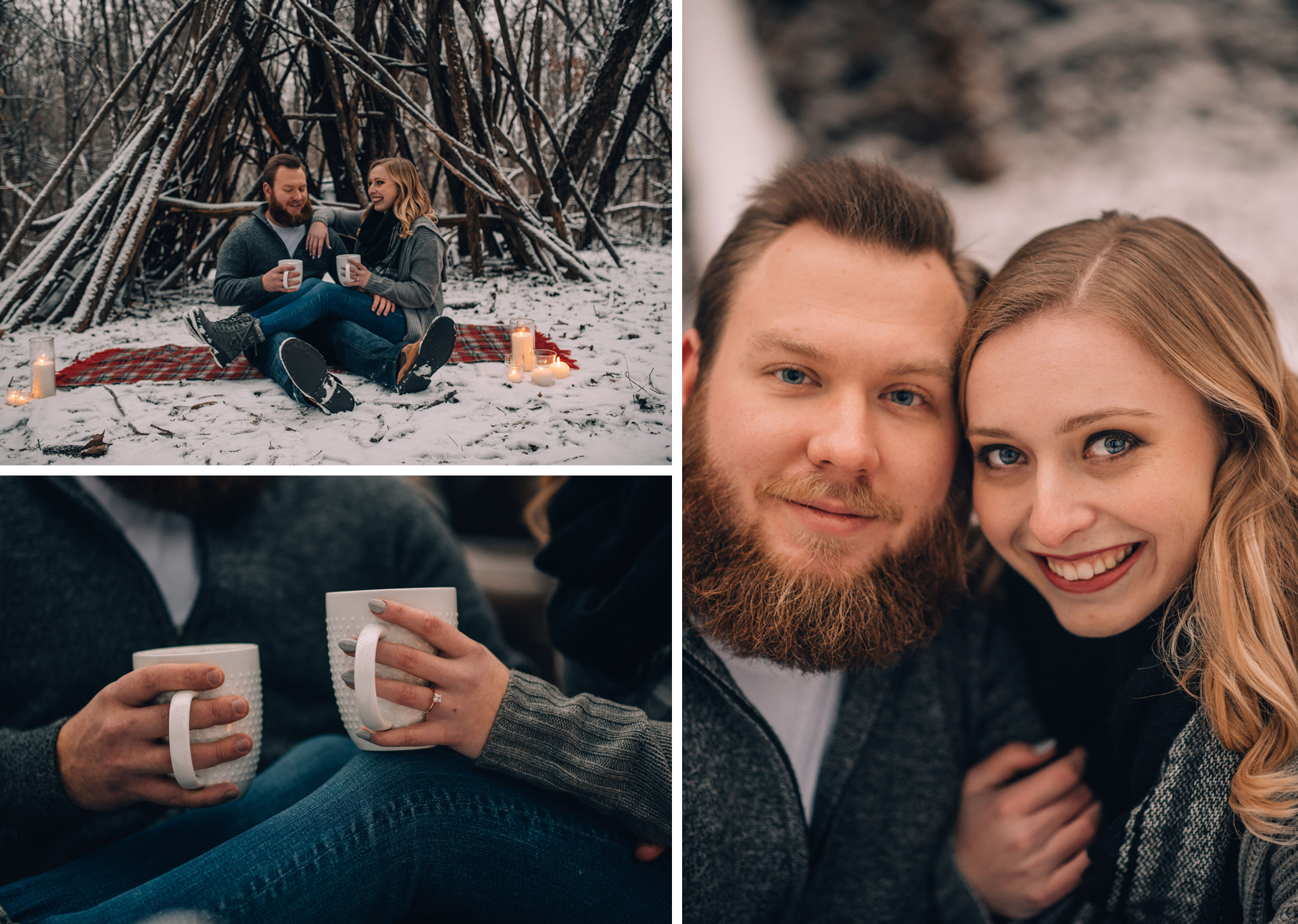 whimsical winter engagement